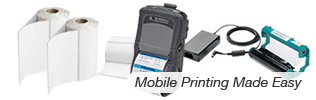 Mobile barcode label and reciept printing
